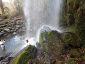 夕日の滝滝行